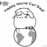 Pusheen Coloring Pages Happy World Cat Day