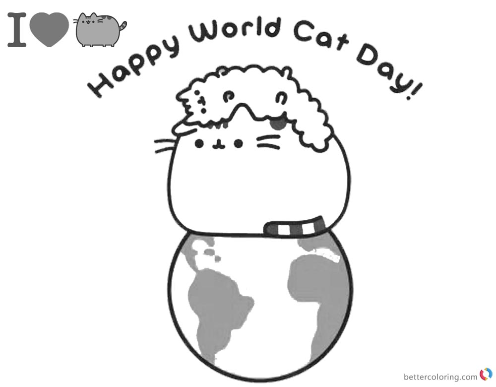 Pusheen Coloring Pages Happy World Cat Day Free
