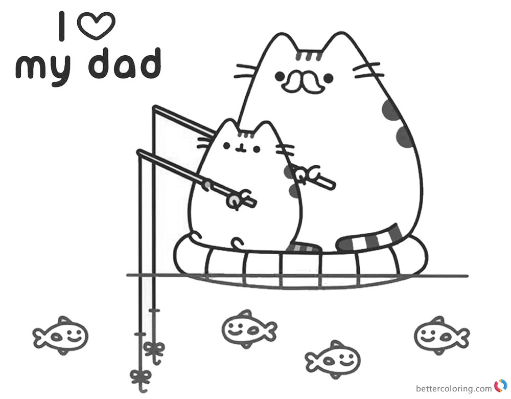Pusheen Coloring Pages I Love My Dad - Free Printable ...