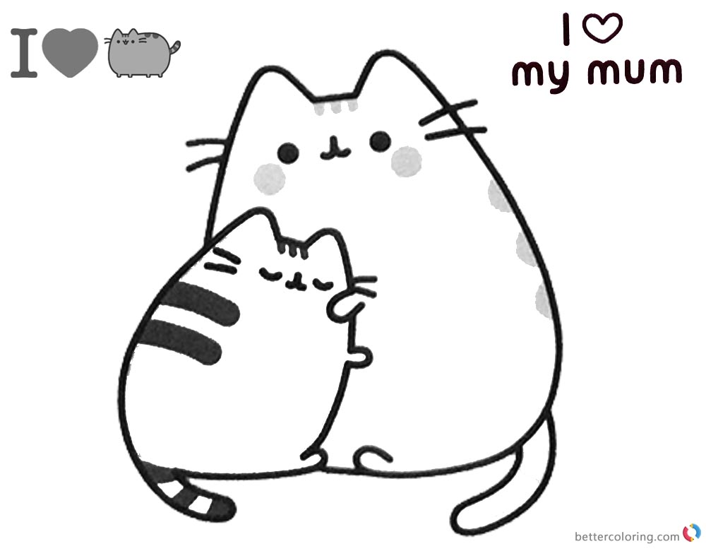 Pushing Cat Coloring Pages