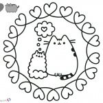 Pusheen Coloring Pages Love Pattern