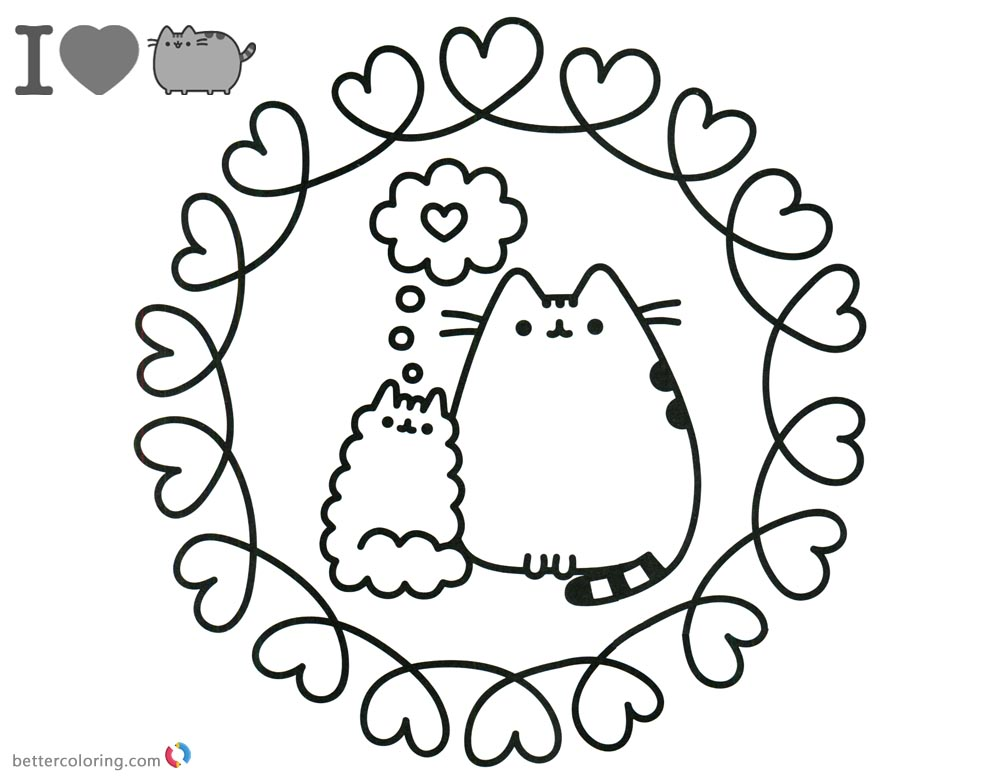 Pusheen Coloring Pages Love Pattern printable and free