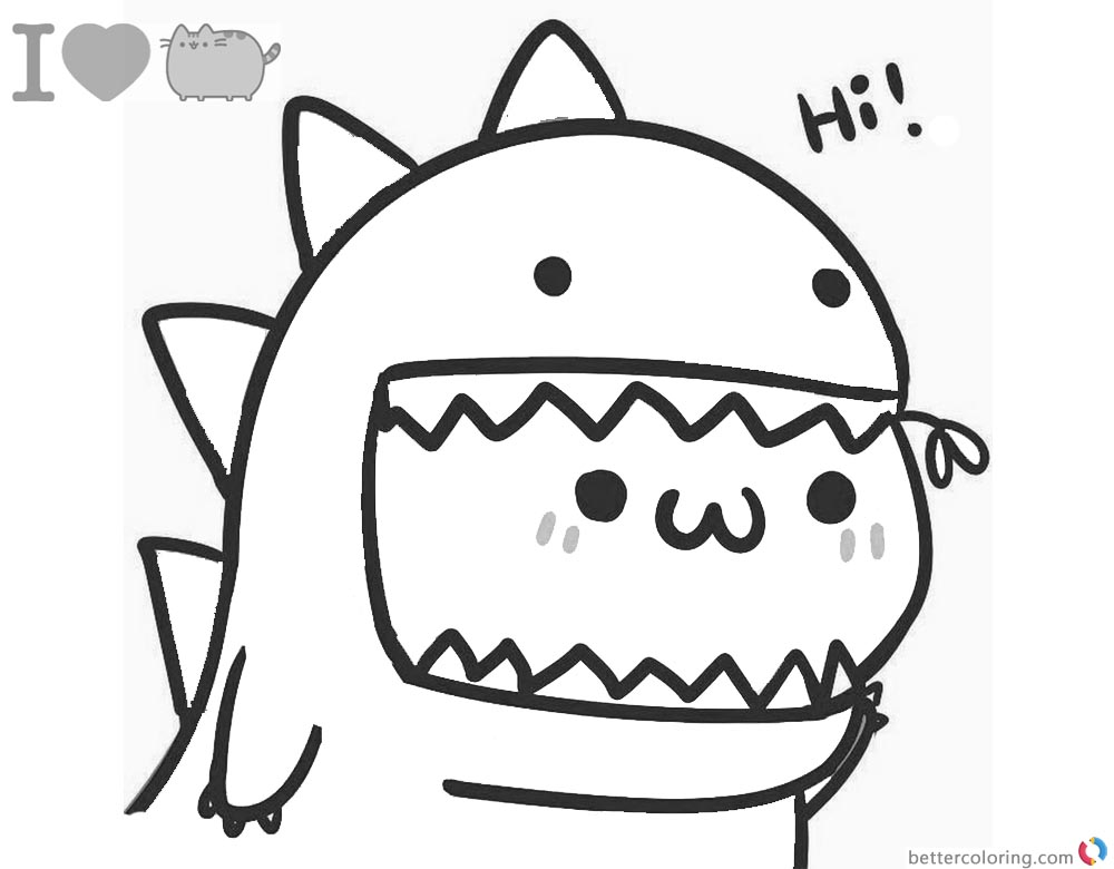Pusheen Coloring Pages Lovely Dinosaur - Free Printable ...
