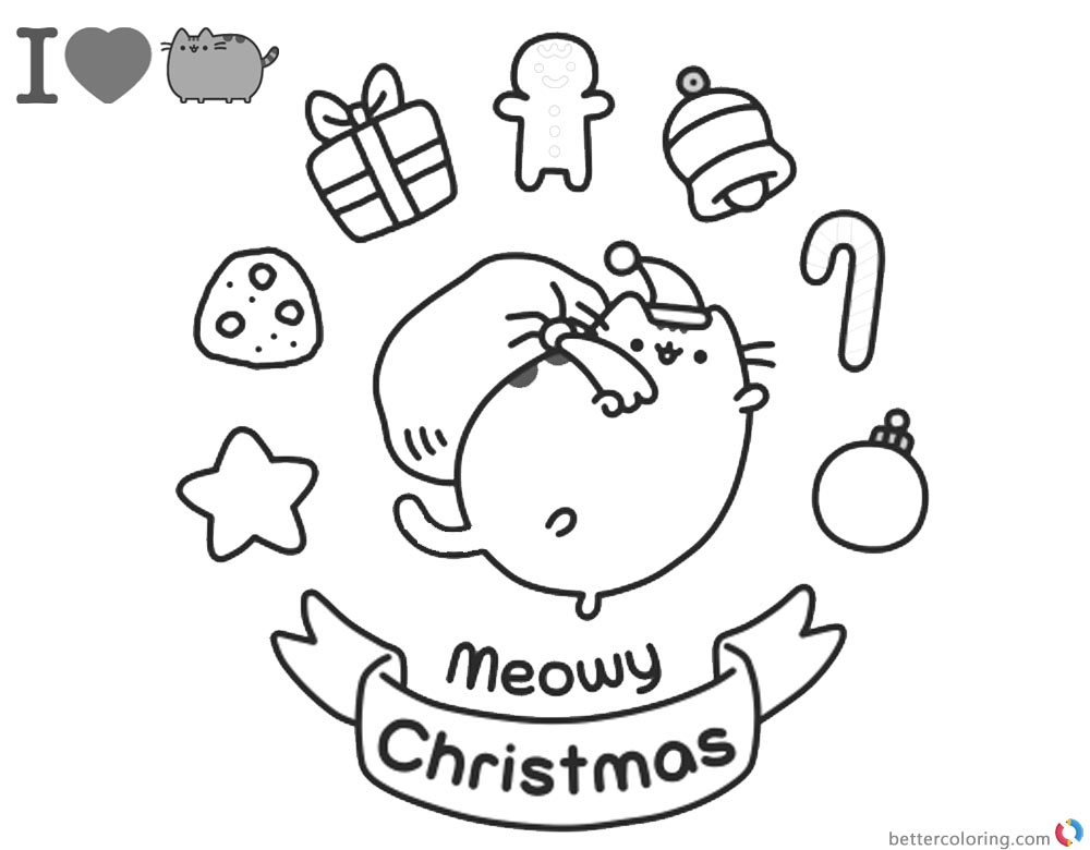 Pusheen Coloring Pages Meomy Christmas