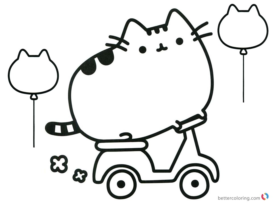 Pusheen Coloring Pages Motorcycle printable and free