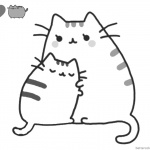 Pusheen Coloring Pages Mum's Hug