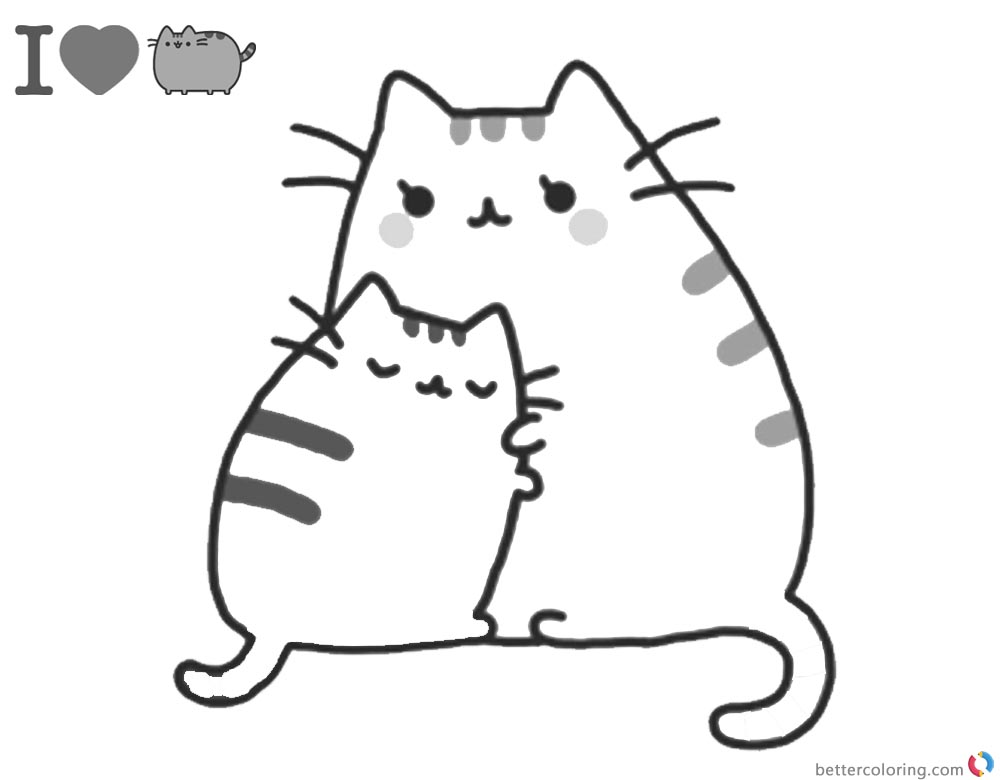 Pusheen Coloring Pages Mum's Hug printable and free