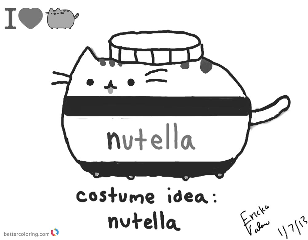 Pusheen Coloring Pages Nutella