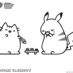 Pusheen Coloring Pages Pikachu and Pusheen