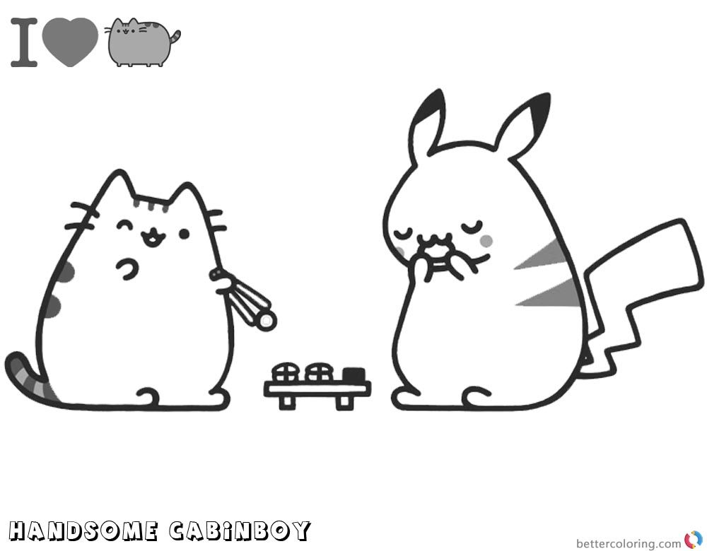 Pusheen Coloring Pages Pikachu and Pusheen printable and free