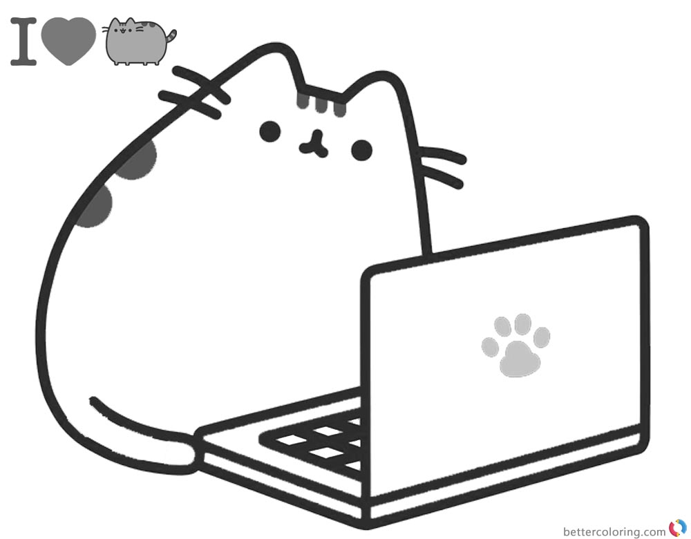 Pusheen Coloring Pages Playing Laptop printable and free
