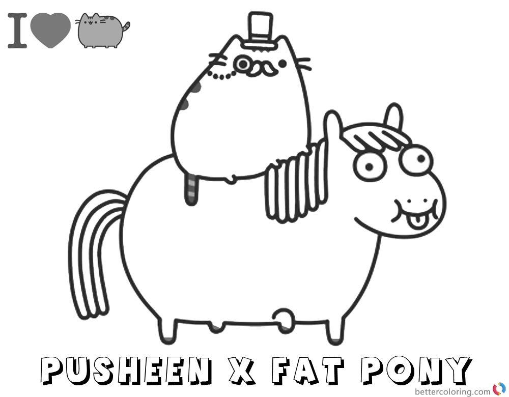 Pusheen Coloring Pages Pusheen Ride Fat Pony printable and free
