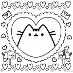 Pusheen Coloring Pages Pusheen in Heart Pattern
