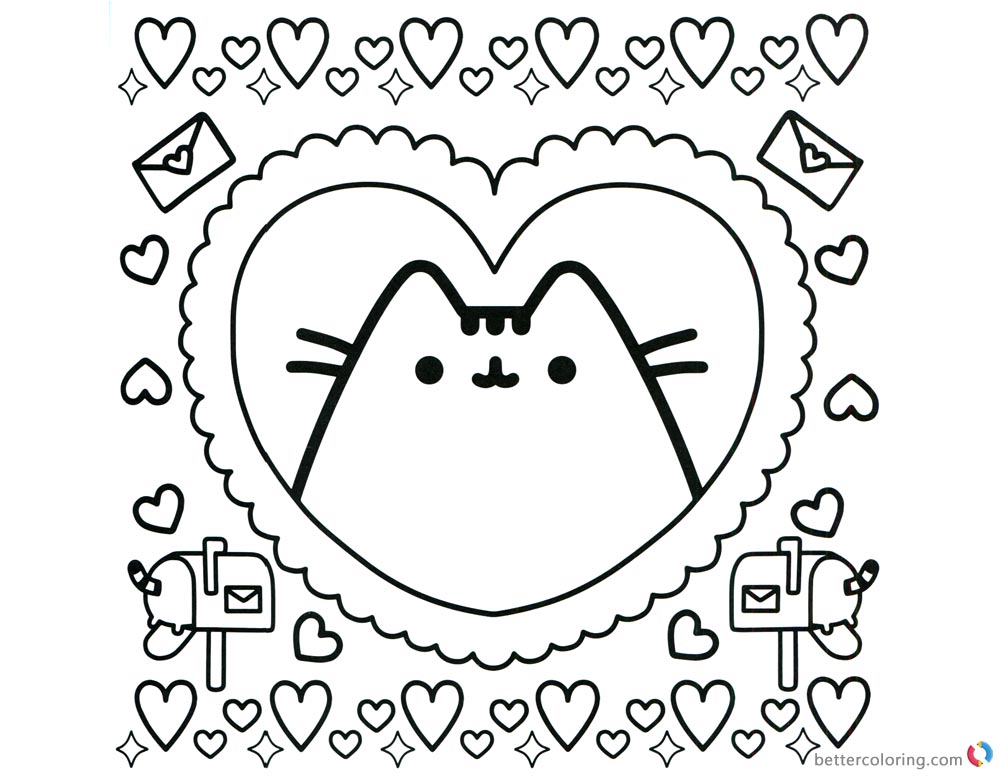 Pusheen Coloring Pages Pusheen in Heart Pattern printable and free