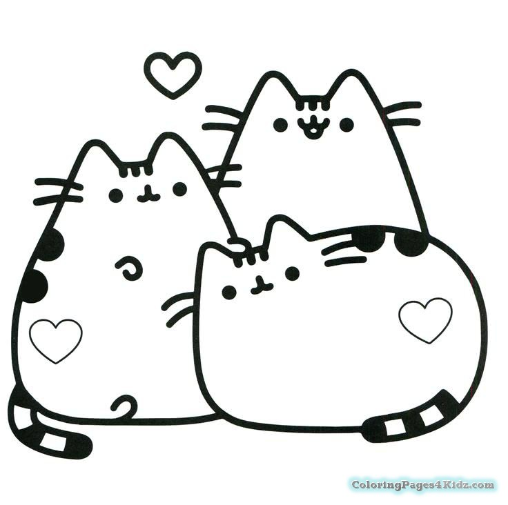 Pusheen Coloring Pages Pusheen with Heart Symbol printable and free
