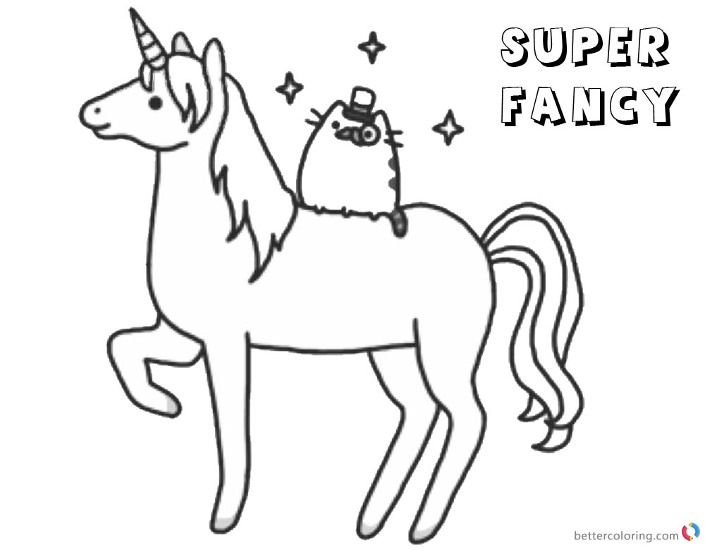 Pusheen Coloring Pages Super Fancy Unicorn printable and free