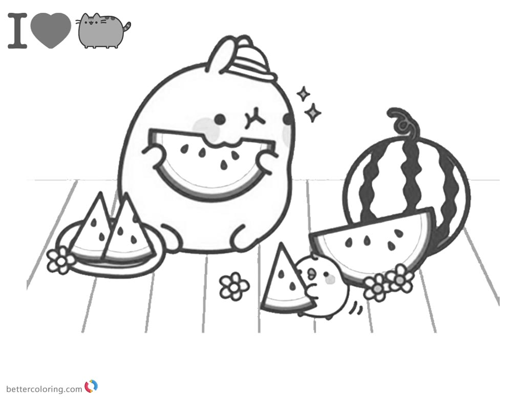 pusheen coloring pages watermelon free printable