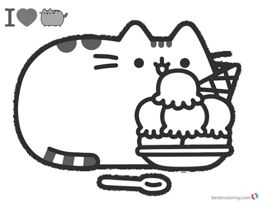 Pusheen Coloring Pages Yummy Iceream printable and free