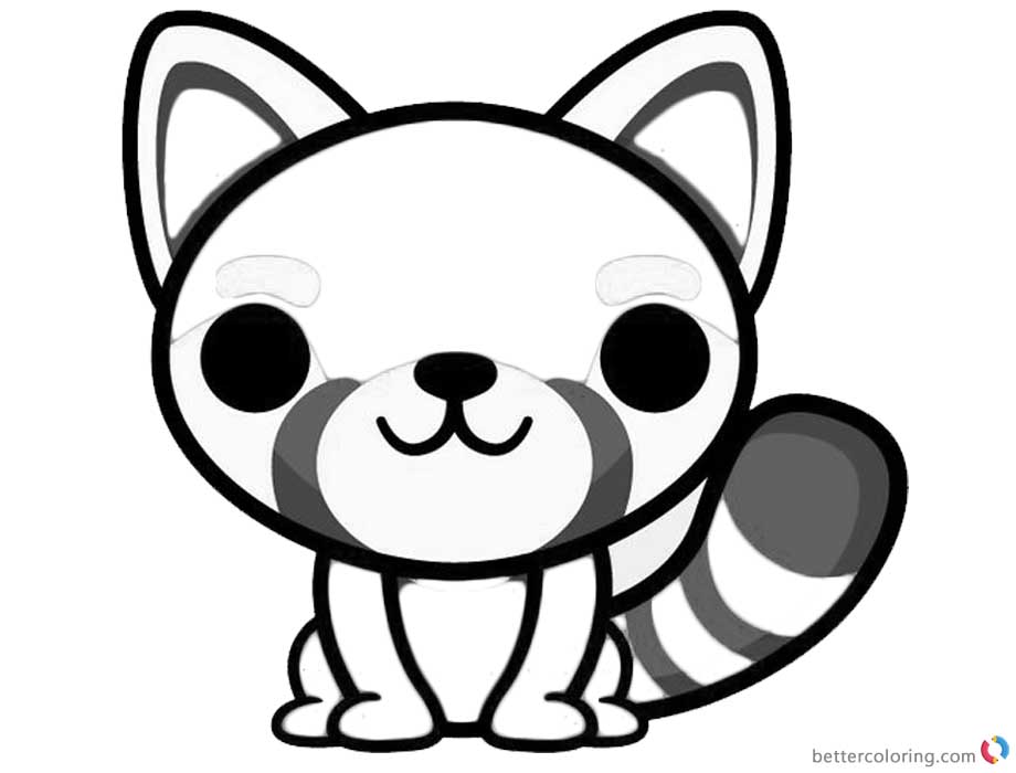 Red panda coloring pages cartoon art free printable for Red panda coloring page
