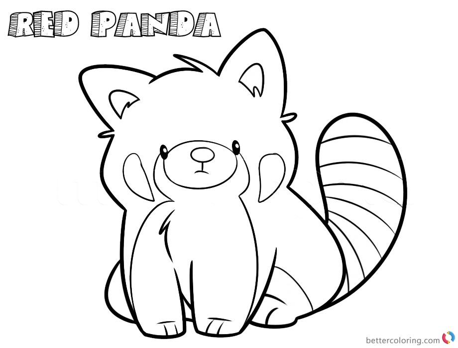 Red Panda Coloring Pages Cartoon Line Art Drawing - Free Printable ...