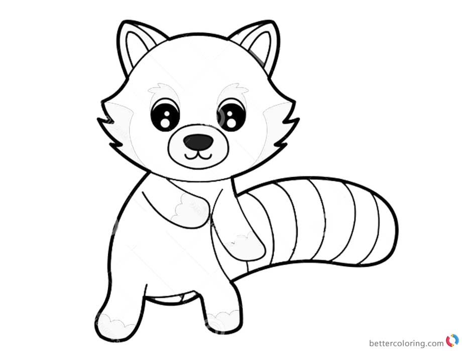 Red Panda Coloring Pages Cute Cartoon Coloring Sheet Free