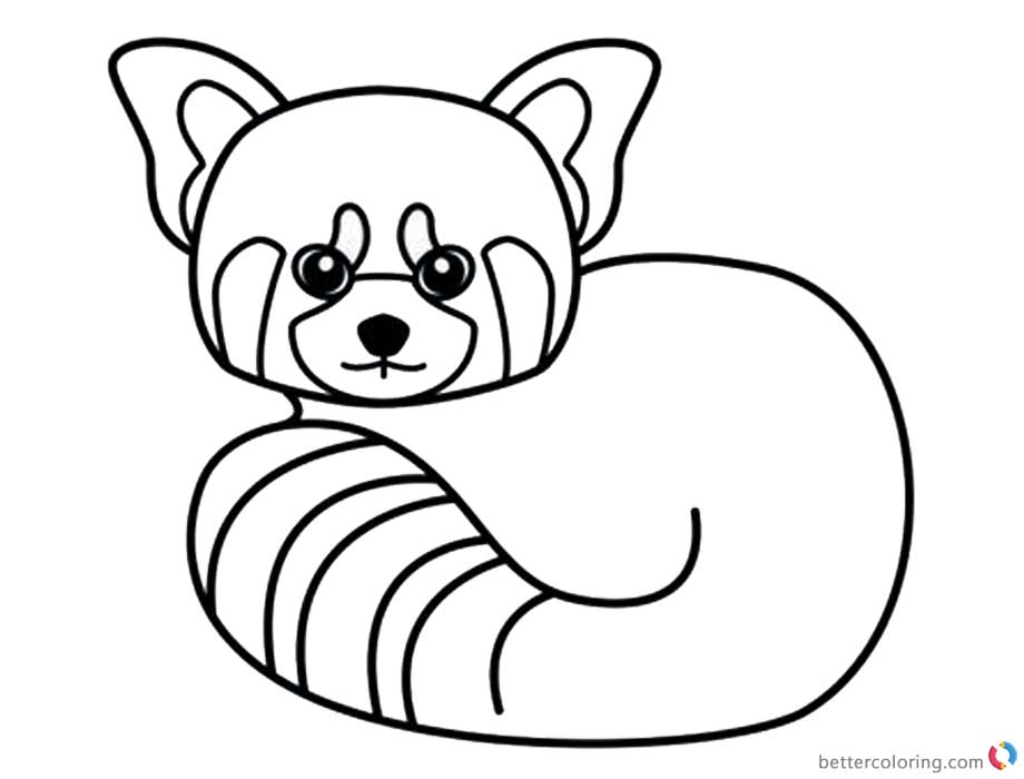 Red Panda Coloring Pages Line Art printable for free
