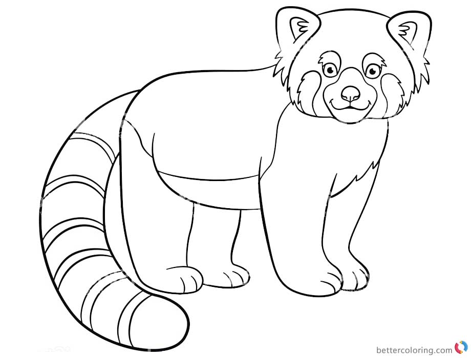 Red Panda Coloring Pages Lineart Black and White printable for free