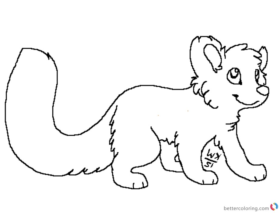Red Panda Coloring Pages Lineart Big tail printable for free
