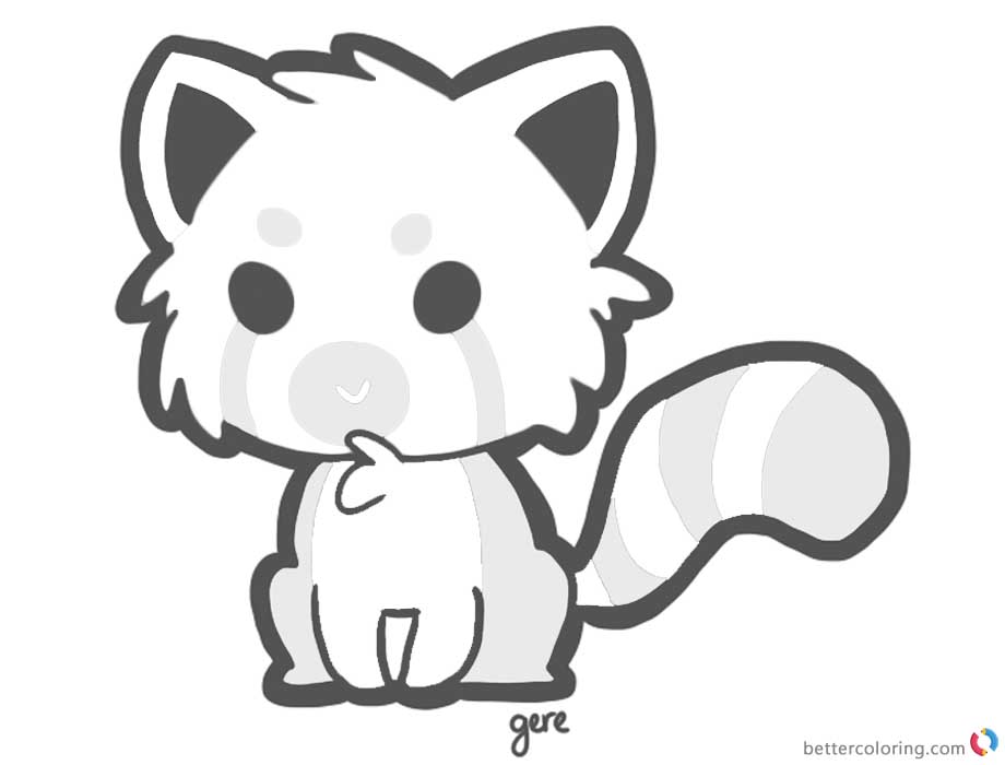 Red Panda Coloring Pages Little Cartoon Red Panda printable for free