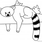 Red Panda Coloring Pages Rest on the Tree