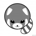 Red Panda Coloring Pages Round Body