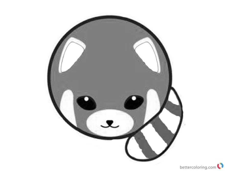 Red Panda Coloring Pages Round Body printable for free