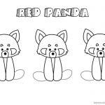 Red Panda Coloring Pages Three Baby Red Pandas