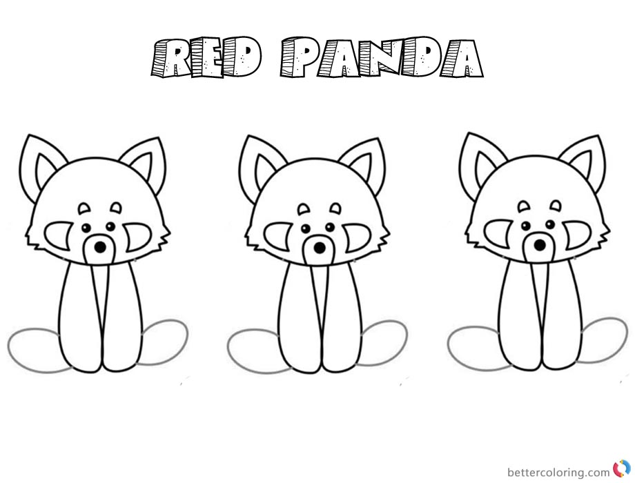 Red Panda Coloring Pages Three Baby Red Pandas printable for free