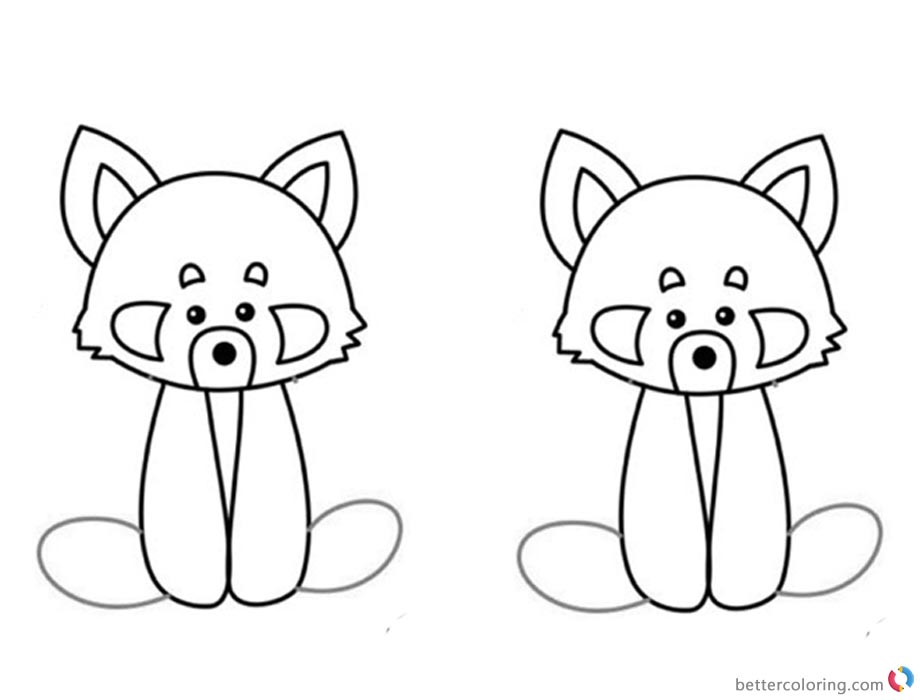 Red Panda Coloring Pages Two Red Pandas Clipart - Free Printable ...