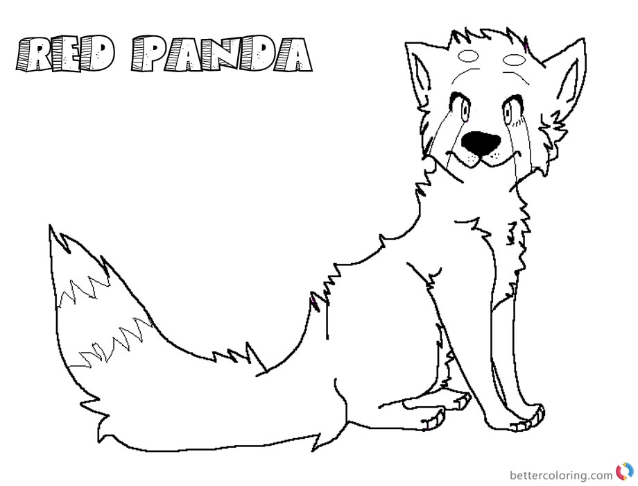 Red Panda Coloring Pages Realistic Lineart printable for free