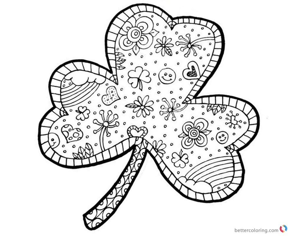 Shamrock Coloring Pages Fancy Doodles - Free Printable Coloring Pages