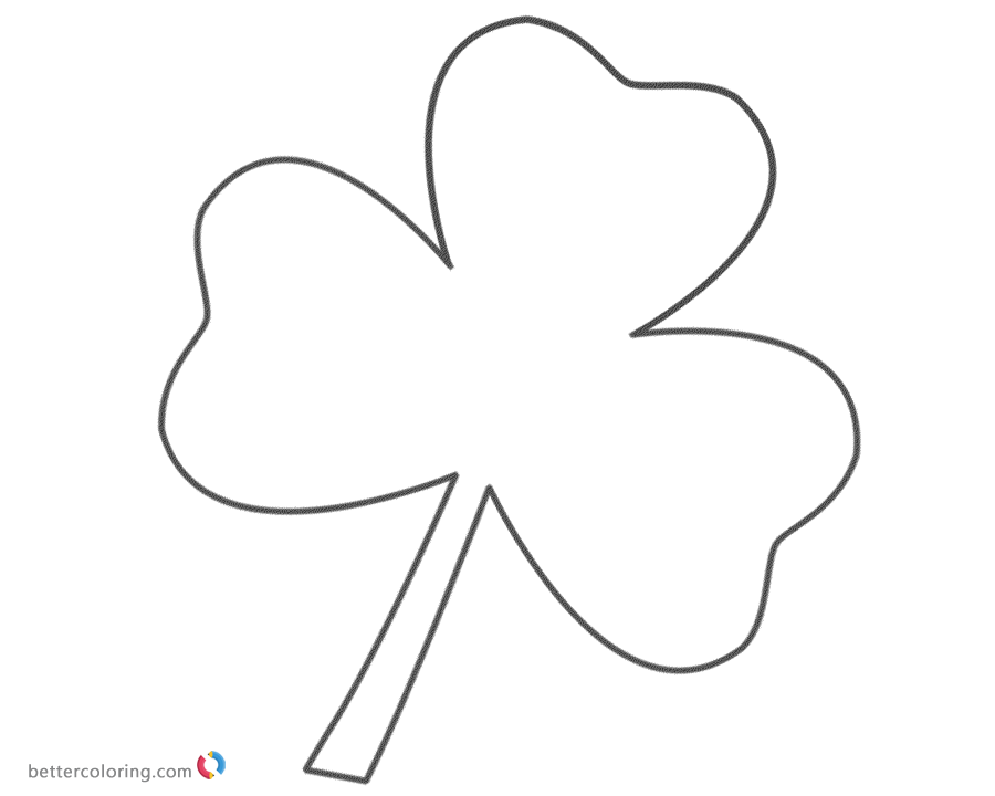 Shamrock Three Leaf Clover Coloring Pages printable