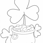 Shamrock coloring pages flower with a pot of gold