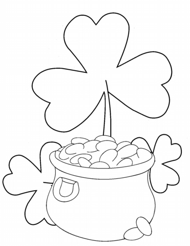 Shamrock coloring pages flower with a pot of gold printable