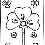 Shamrock coloring pages flowers card for St Patrick day