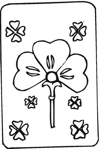 Shamrock coloring pages flowers card for St Patrick day printable
