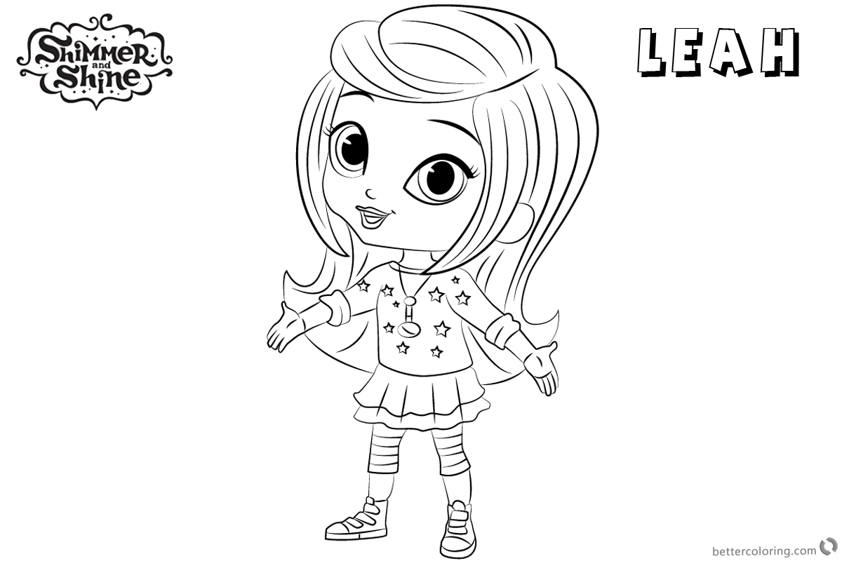 Free Shimmer and Shine Coloring Pages Leah Lineart Picture Printable