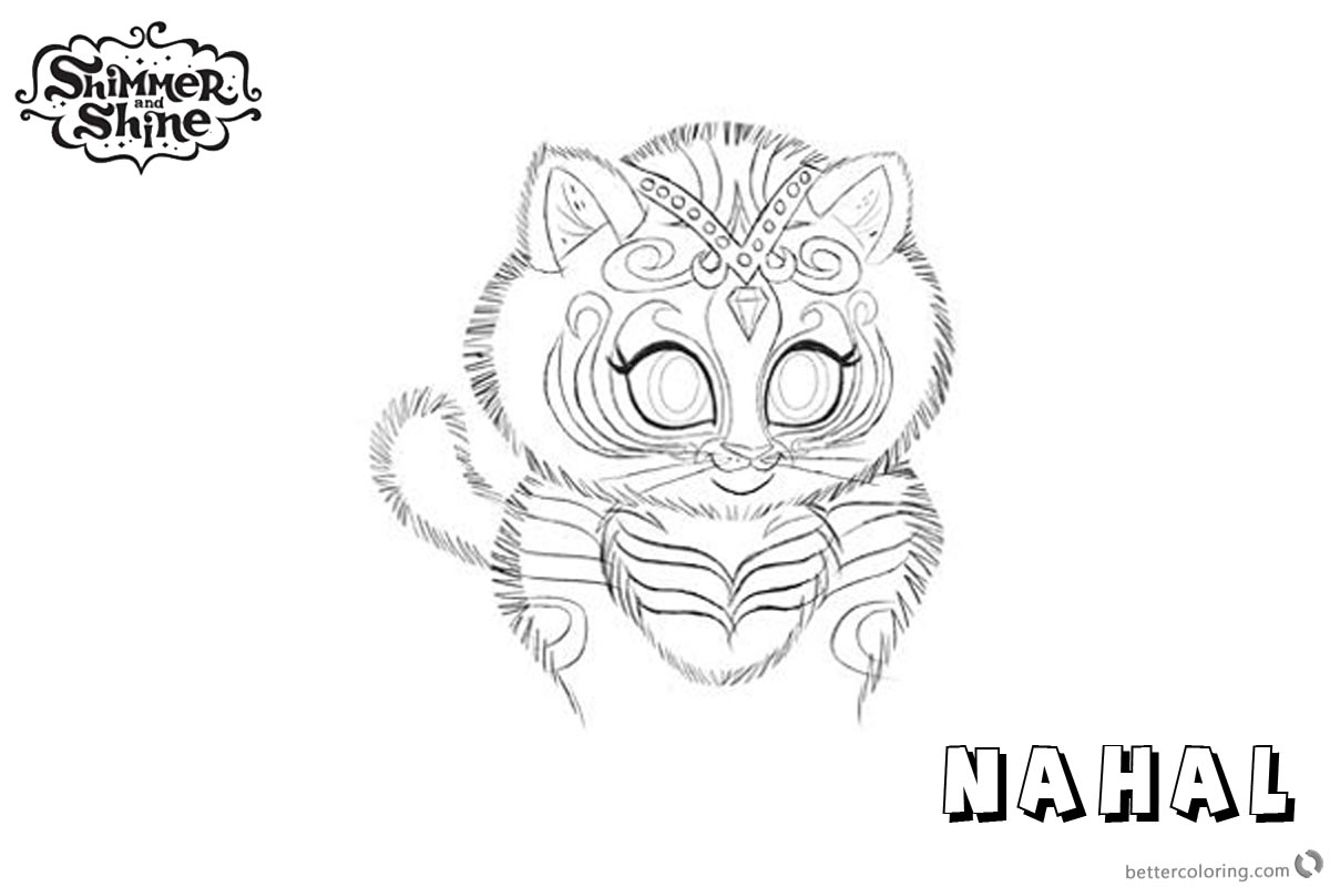 Free Shimmer and Shine Coloring Pages Nahal Tiger Printable