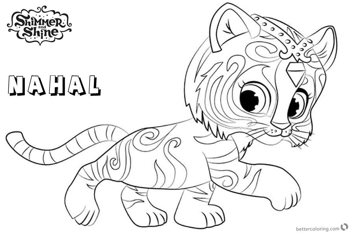 Free Shimmer and Shine Coloring Pages Nahal Walking Printable