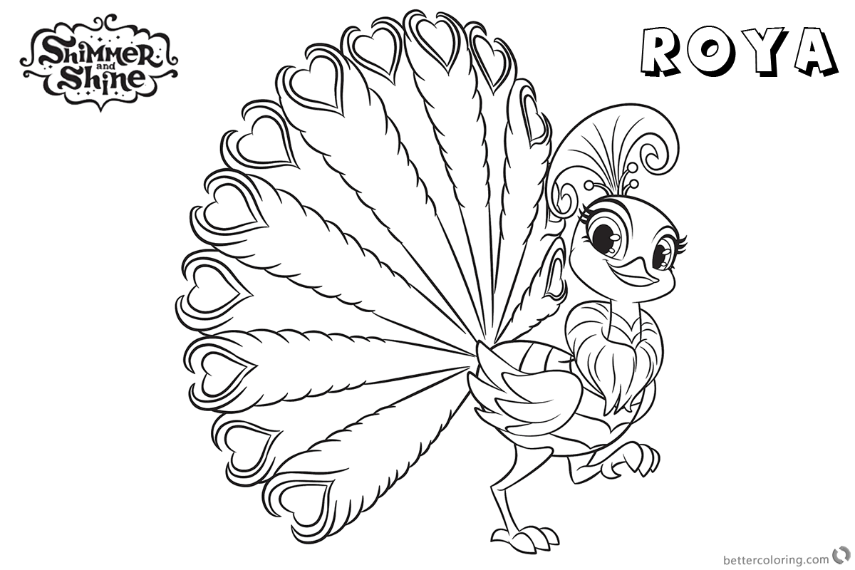 Free Shimmer and Shine Coloring Pages Peacock Roya Printable