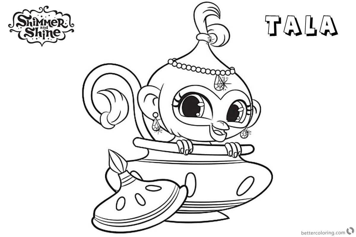 Shimmer and Shine Coloring Pages Pet Monkey Tala - Free Printable ...