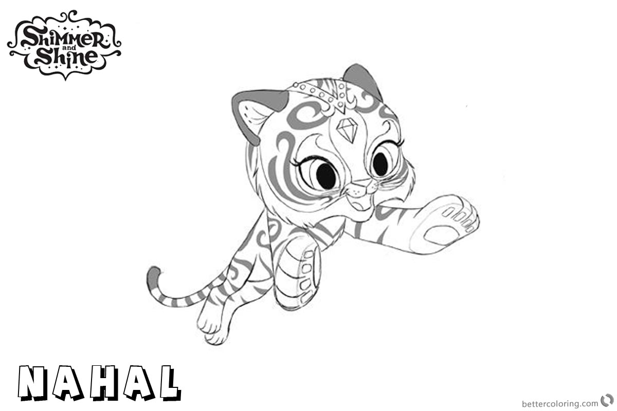 Free Shimmer and Shine Coloring Pages Pet Nahal Jumping Printable