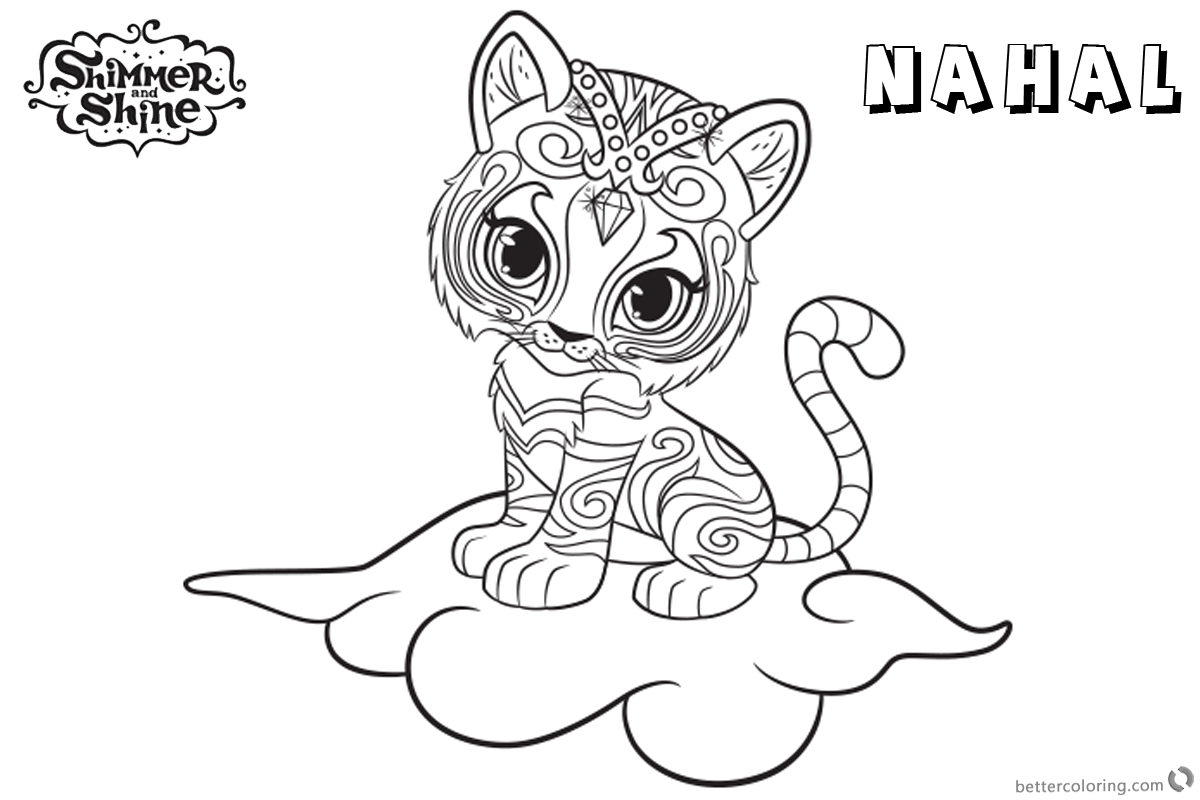 Shimmer and Shine Coloring Pages Pet Nahal on the Cloud - Free ...