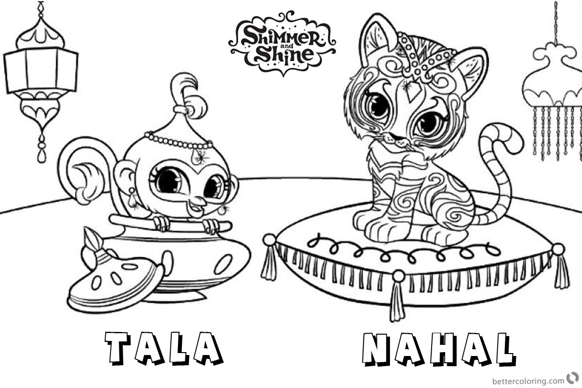 Shimmer and Shine Coloring Pages Pet Tiger and Monkey - Free ...